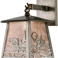 "0-024092>12""h Fly Fishing Creek 1-Light Outdoor Hanging Wall Sconce Iron Steel"
