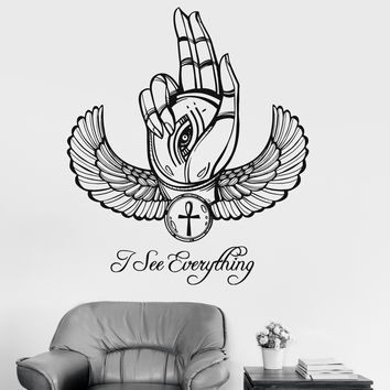 Vinyl Wall Decal Ancient Egypt Eye of Horus Ra Hand Talisman Stickers (ig3604)
