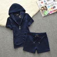 Juicy Couture Original Velour Tracksuit 612 2pcs Women Suits Navy