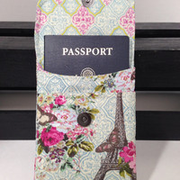 Passport Pouch - Passport Holder - made by me with Eiffel Tower and Floral Fabric