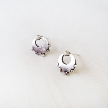 Sterling Silver Stud Posts Earrings Circle Round Tribal with little balls - Original Small Tribal Post Earrings Studs - Contemporary Jewelry