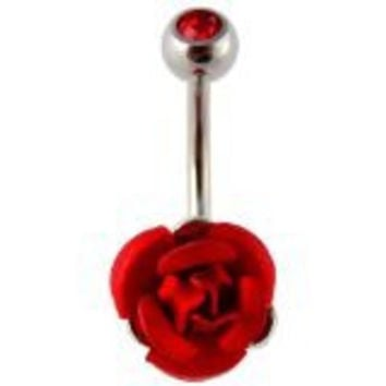 Red Rose Belly Ring Metal Flower Navel Belly Rings 14g 3/8""