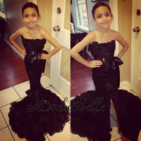 Fashion Flower Girl Dresses 2016 Black Mermaid Pageant Dress for Kids Slit Front Bow Sash Little Girls Party Gowns