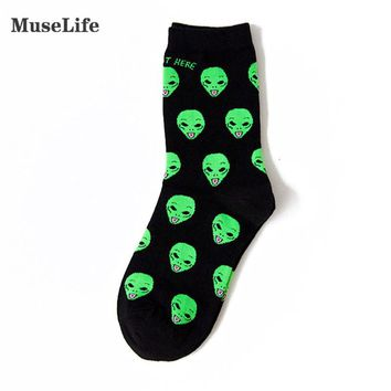 New Cotton Casual Socks for Women Men Cat Alien Socks Hip hop Harajuku Skateboard Socks Funny Socks 36-42 Sox