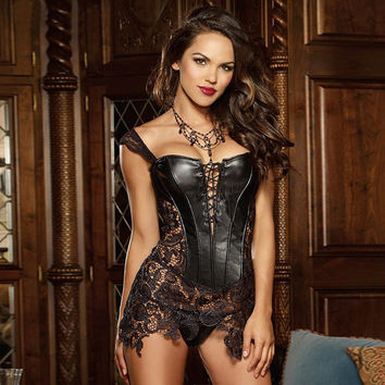 Plus size Steampunk Gothic Women Faux Leather Burlesque lace corset Dress Corpete Corselet Lace up Sexy Women Waist Trainer
