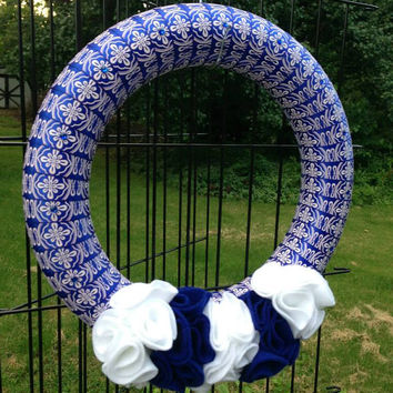 Blue and White Ribbon Wreath with Ruffles