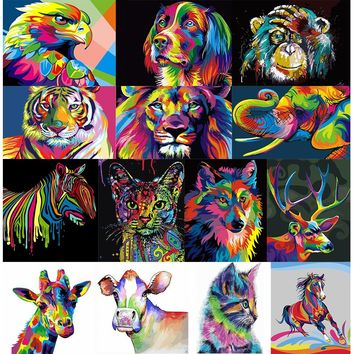 Frameless Colorful Animals Abstract Painting Diy Digital Painting By Numbers Modern Wall Art Picture for Home Wall Artwork Gift