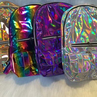 Silver Gold Purple and Rainbow Holographic Backpack
