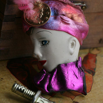 Handmade Fashion Broach, Lady Head Pin.