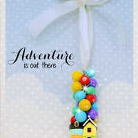 UP! inspired adventure is out there rear view mirror car charm dangle with polymer clay pendant handmade