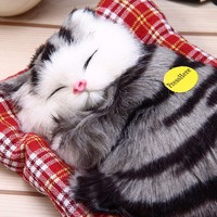 Realistic Stuffed Plush Sleeping Cat Toy with Sound Lovely Simulation Animal Doll Kids Toy Decorations Birthday Gift For Children