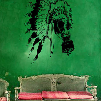 kik219 Wall Decal Sticker Indian mask Chief Native American living room bedroom