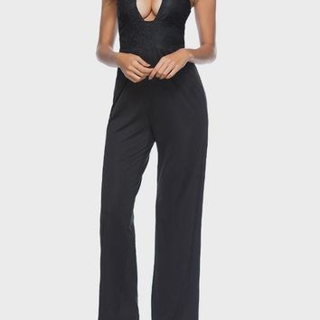 Black Cut Out Bright Wire One Piece Backless Clubwear Party Long Jumpsuit