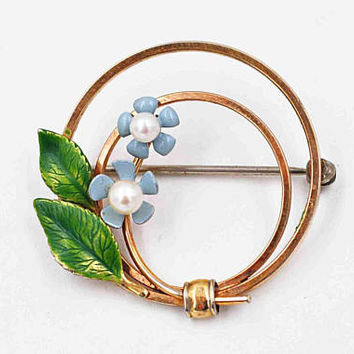 Vintage Krementz Forget-Me-Not Flower Circle Pin Brooch, 14K Rolled Gold, Gold Filled, Pearl, Enamel, Floral, Leaves, Superb! #c304