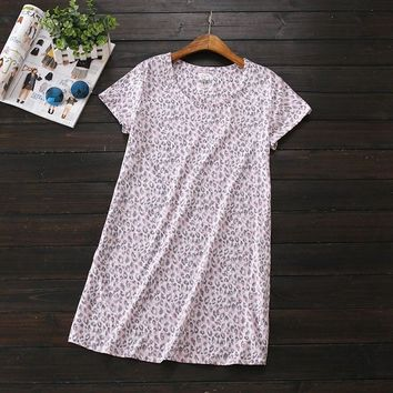 2017 Summer Brand Homewear Women Casual Leopard nightgown washed Cotton nightdress Female Short sleeve Round collar sleep dress