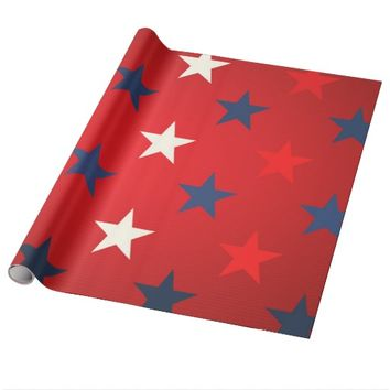 White & Blue Stars Gift Wrapping Paper