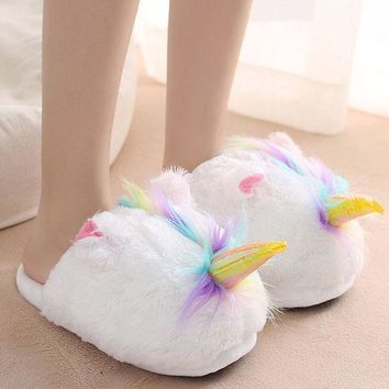 Women Plush Cute Unicorn Slippers Warm Soft Floor Shoes Non-slip House Shoes