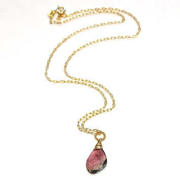 Delicate Watermelon Tourmaline Slice Necklace Wire Wrapped Gold Vermeil Everyday Necklace Gemstone Jewelry