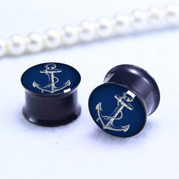 Pairs navy  anchor   ear  Plug  ,Men/women Tunnels Ear Plugs, Black Titanium ear plugs ,0g,00g ,1/2, 9/16, 5/8, 3/4, 7/8,
