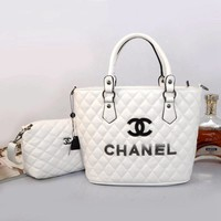CHANEL Women Shopping Bag Beach Tote Handbag Shoulder Bag Two Piece Set