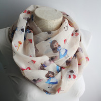 Alice in  Wonderland Scarf, Alice Scarf, Handmade Scarf, Alice Infinity Scarf,  Fashion Accessories, Circle Scarf, Gift For Her