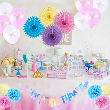 Rainbow Unicorn Birthday Party Decoration Set Happy Birthday Banner Photo Booth Props Balloons Paper Fans Pom Poms Girl 22pcs