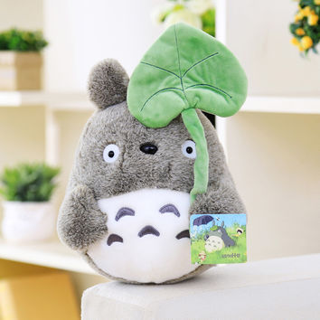lovely plush toy, my neighbor totoro plush toy cute soft doll totoro with lotus leaf kids toys Cat 25cm
