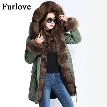 Women Winter Jacket 2017 Vintage Long Parka Coat Fur Jackets Real Fox Fur Collar Fashion Russian Style Hooded Coats Thick Parkas