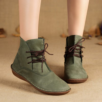 Handmade Women Boots Genuine Leather Ladies Shoes Spring/Autumn Lace up Ankle Boots Female Footwear(506-L)