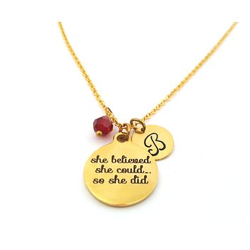 She Believed She Could So She Did - Gold Personalized Necklace