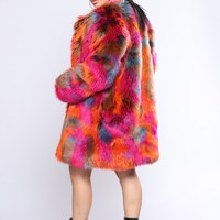 Show You Up Faux Fur Jacket - Multi