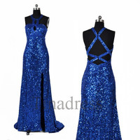 Custom Royal Blue Halter Sequins Lace Long Prom Dresses Secy Evening Dresses Fashion Party Dress Homecoming Dress Wedding Party Dress