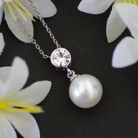 Single Pearl Crystal Droplet Necklace, Crystal Necklace, 18K White Gold Plated, Single Pearl Necklace