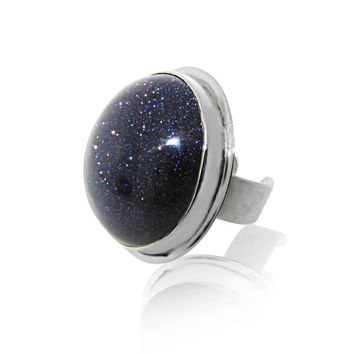 Blue Goldstone Ring- Silver | MAYA MAGAL