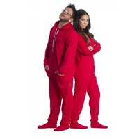 Red Cotton Footed Hooded Onesuit Pajamas