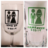 Bride and Groom glass set. Game over/Level up glass set.