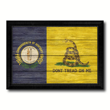 Gadsden Don't Tread On Me Tea Party Kentucky State Military Flag Texture Canvas Print with Black Picture Frame Gift Ideas Home Decor Wall Art