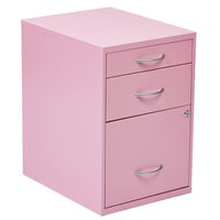 "OSP Designs 22"" Pencil, Box, Storage File Cabinet in Pink Finish"