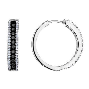 Diamond and Black Diamond Hoop Earrings 1/2ctw