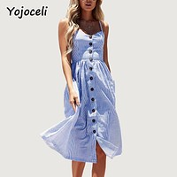 Yojoceli Striped button sexy casual summer strap dress Long boho beach pockets women sundress vestidos Elegant daily dess female