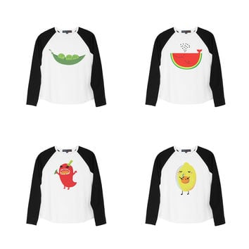 Kid Funny animals in food style Print Cotton Long Sleeves Raglan T-shirt  UTS_01