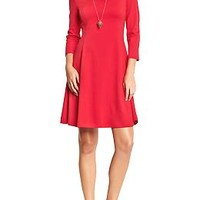 Women's Ponte-Knit Fit & Flare Dresses