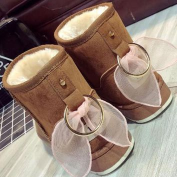 New Brown Round Toe Flat Bow Fashion Ankle Boots