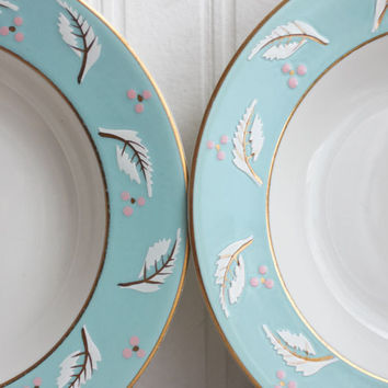 Royal Jackson China Bowls - 1940s-  Aqua Blue and Pink
