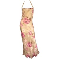 Gorgeous Vintage Bob Mackie Silk Chiffon Beaded Nude Gold Pink 1990s Gown Size 8