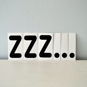 ZZZ... Sign, Vintage Alphabet Letters, Black White Word Set of 6, Custom Sign Z Sleep, Home Wall Decor, Scrapbook Notion, Bedroom Banner