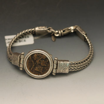 ancient coin bracelet with authentic ancient greek coin, sterling silver bracelet with ancient roman coin