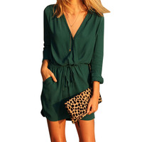 Shocking Show Women V Neck Green Long Sleeve Chiffon Party Dress Evening Casual Mini Dress