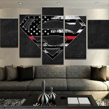 Superman American Flag Canvas Five Piece Wall Art