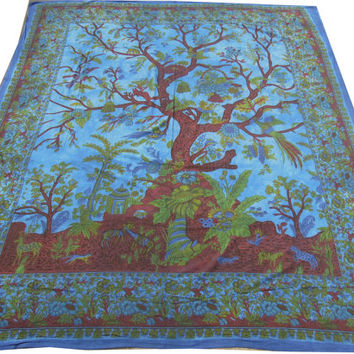 Blue Indian Tree Of Life Hippie Hippy Wall Hanging Tapestry Throw Bedspread Bed Decor Sheet Ethnic Decorative Art